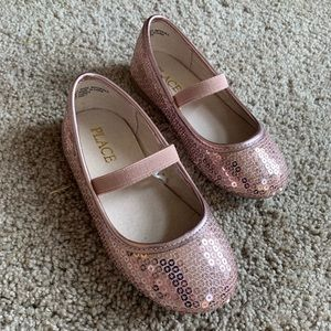 Rose gold sequin dress shoes